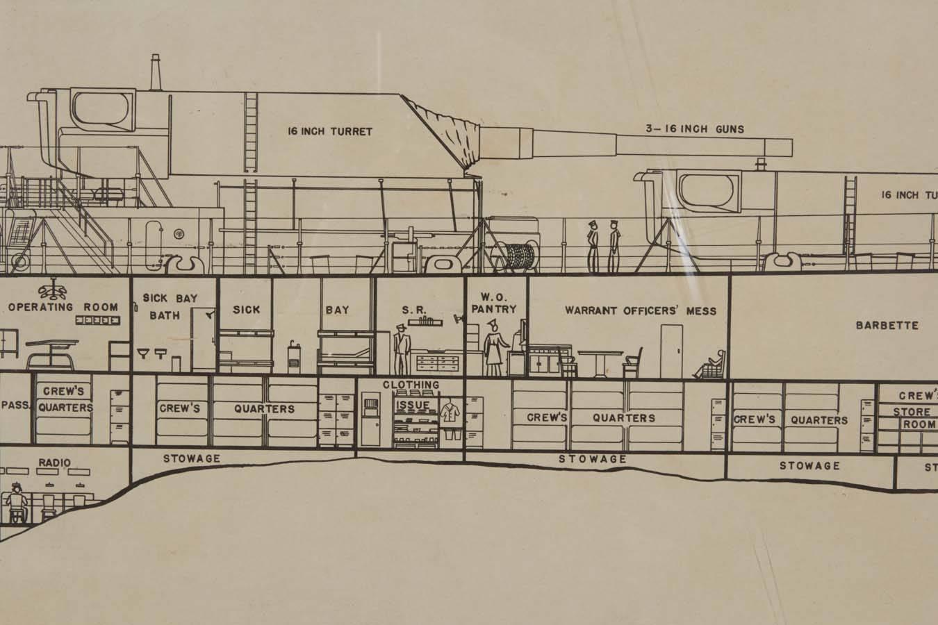 world war ii era framed battleship diagram for sale at 1stdibs. Black Bedroom Furniture Sets. Home Design Ideas