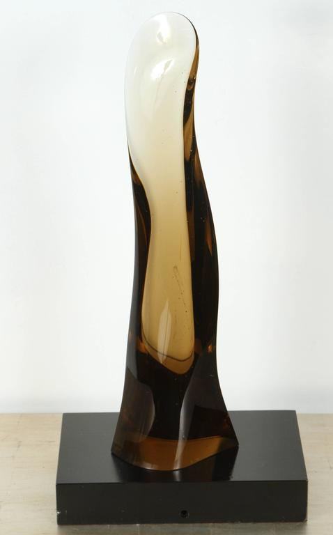 Late 20th Century Sleek 1970s Smoked Glass Sculpture For Sale