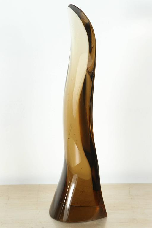 Sleek 1970s Smoked Glass Sculpture For Sale 2