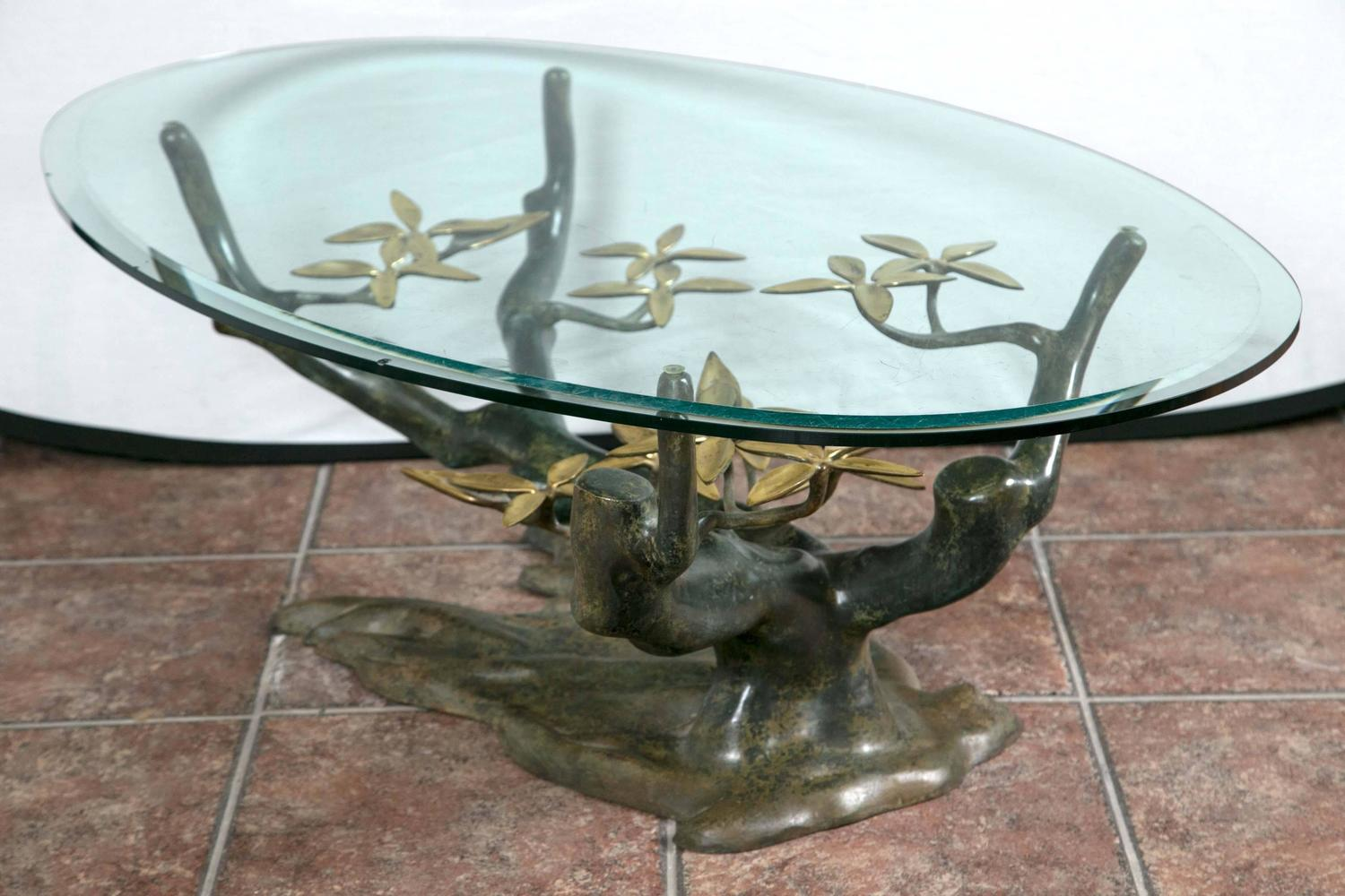 unique bronze tree and flower base coffee table for sale at 1stdibs. Black Bedroom Furniture Sets. Home Design Ideas