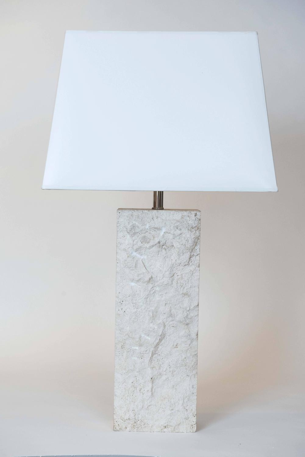 Pair of vintage travertine lamps at 1stdibs for Chair table lamp yonge st