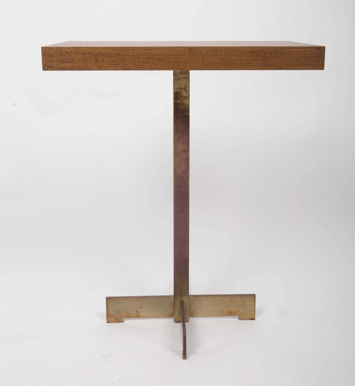 Modernist pedestal table with brass base at 1stdibs - Ceramic pedestal table base ...