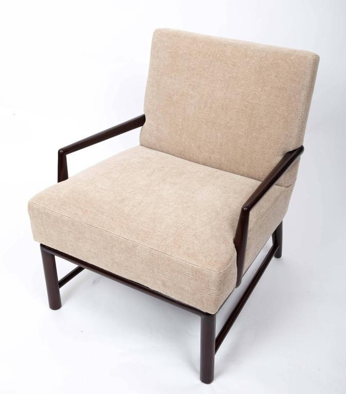 Wood Upholstered Armchair and Ottoman by T. H. Robsjohn-Gibbings For Sale