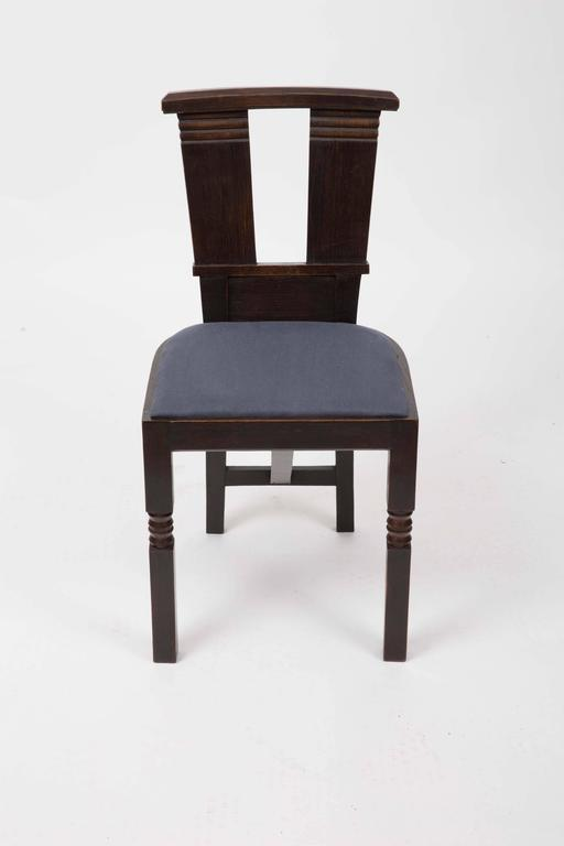 French Set of Six Upholstered Dining Chairs by Charles Dudouyt For Sale