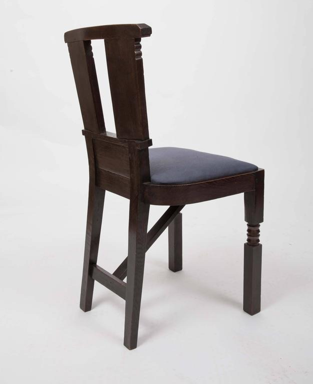 Linen Set of Six Upholstered Dining Chairs by Charles Dudouyt For Sale