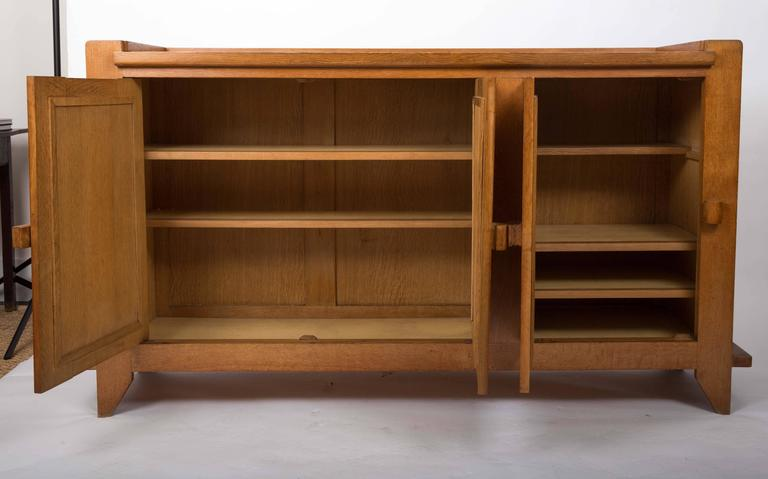 French Guillerme et Chambron Waxed Oak Credenza For Sale