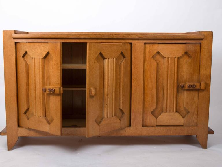 Guillerme et Chambron Waxed Oak Credenza In Good Condition For Sale In New York City, NY