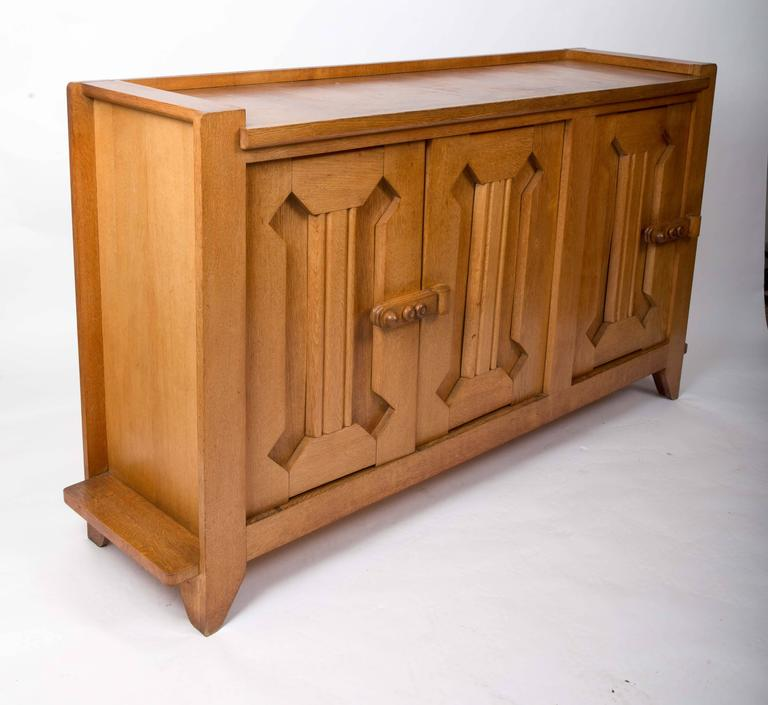Guillerme et Chambron Waxed Oak Credenza For Sale 1