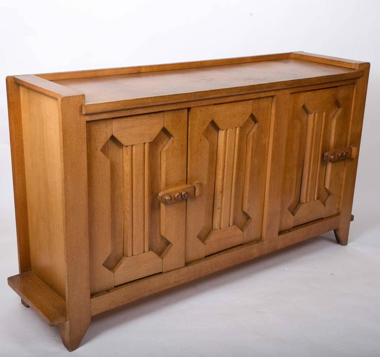 Guillerme et Chambron Waxed Oak Credenza For Sale 2
