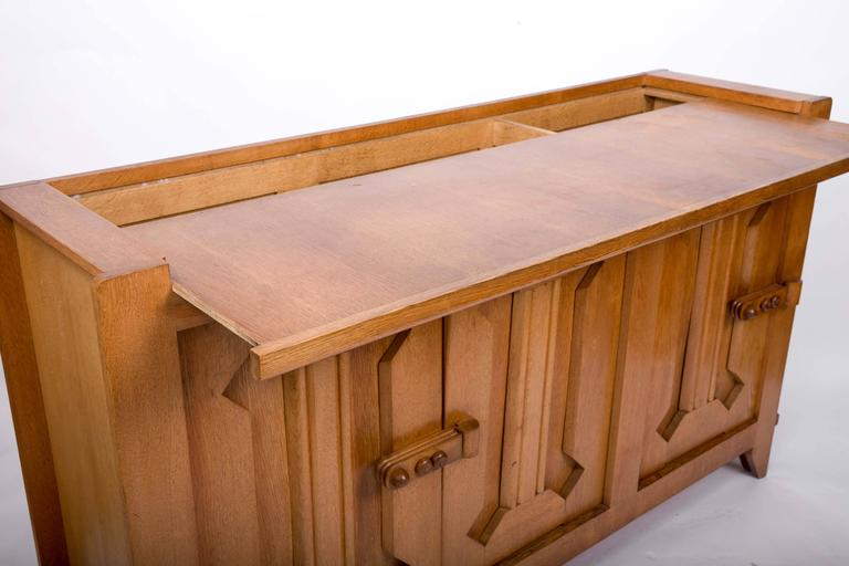 Guillerme et Chambron Waxed Oak Credenza For Sale 3