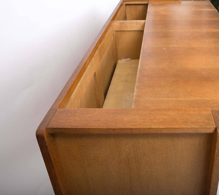 Guillerme et Chambron Waxed Oak Credenza For Sale 4
