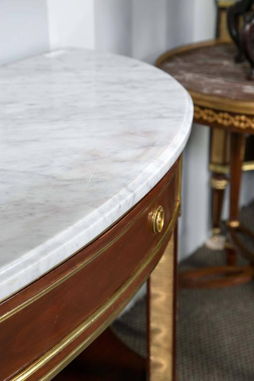 Pair Of Marble Top Demi Lune Console Table By Jansen At