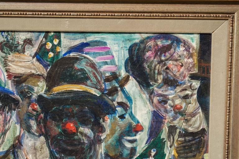 A study of circus clowns, oil on canvas, by San Francisco artist Pat Cucaro (1904 - 2004). Purchased at the Corey Gallery in North Beach. Indistinctly signed on the lower right border. Framed has the Corey Gallery label on verso. Clowns were a