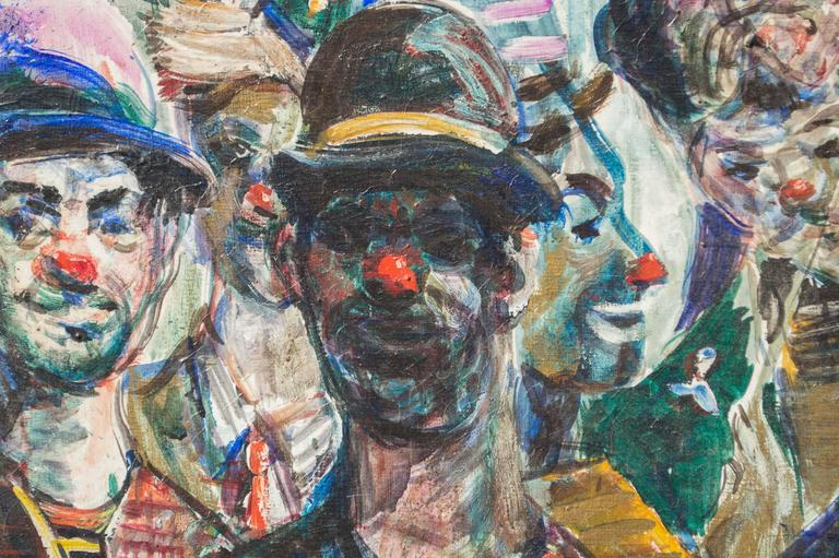 American Modern Study of Circus Clowns, Oil on Canvas, by Pat Cucaro, circa 1973 For Sale