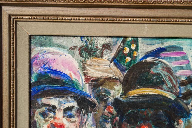 Study of Circus Clowns, Oil on Canvas, by Pat Cucaro, circa 1973 In Excellent Condition For Sale In San Francisco, CA