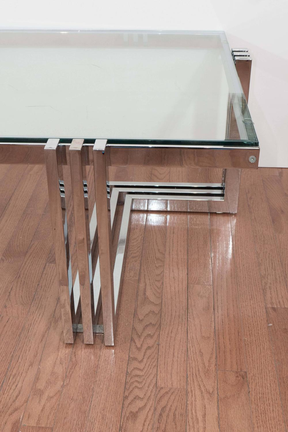 Two tier chrome and lucite coffee table for sale at 1stdibs for Coffee table 70 x 40