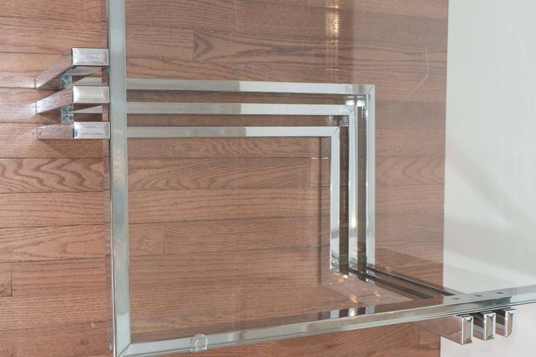 Italian Two-Tier Chrome and Lucite Coffee Table For Sale