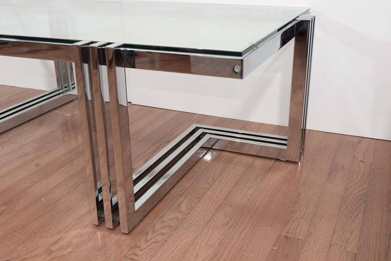 Mid-20th Century Two-Tier Chrome and Lucite Coffee Table For Sale