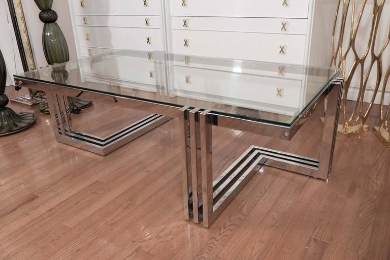 Two-Tier Chrome and Lucite Coffee Table For Sale 1