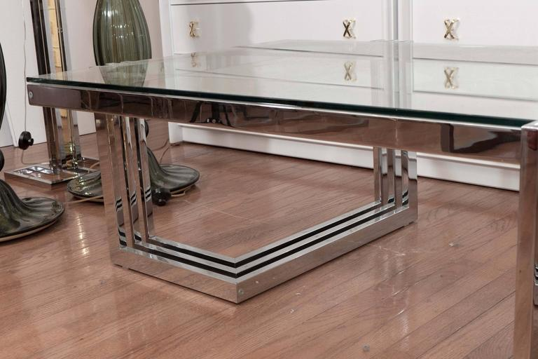 Two-Tier Chrome and Lucite Coffee Table For Sale 2