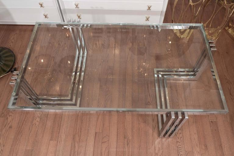 Two-Tier Chrome and Lucite Coffee Table For Sale 3