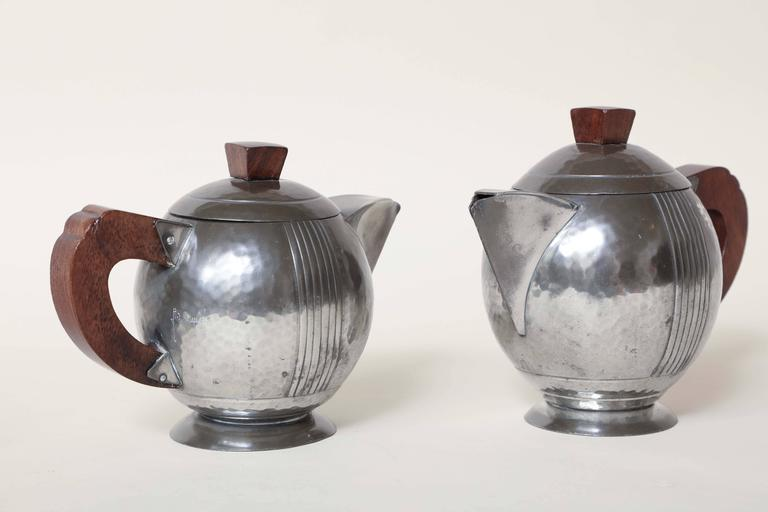 Rene Delavan French Art Deco Pewter And Wood Coffee And