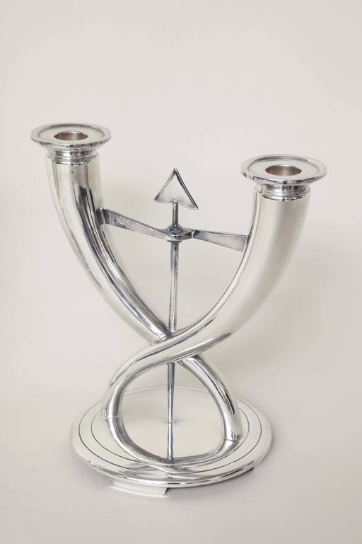 20th Century Gio Ponti for Christofle Pair of Italian Art Deco Silver Plated Candelabra For Sale