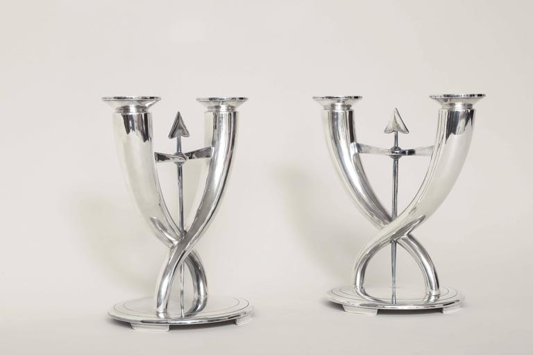 Gio Ponti for Christofle Pair of Italian Art Deco Silver Plated Candelabra For Sale 3