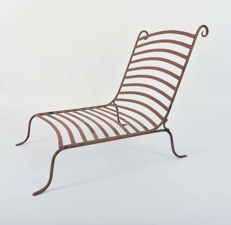 Two Pairs of Chic Mid Century Wrought Iron Low Lounge Chairs at 1stdibs