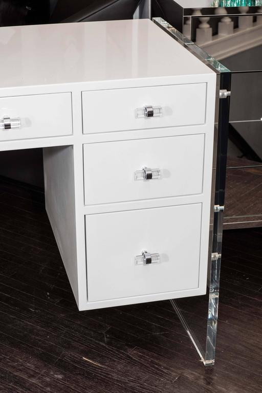 White High Gloss Lacquer Desk With Lucite Side Panels
