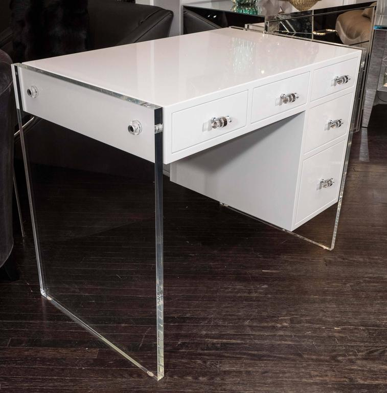 White High Gloss Lacquer Desk With Lucite Side Panels In Excellent Condition For New