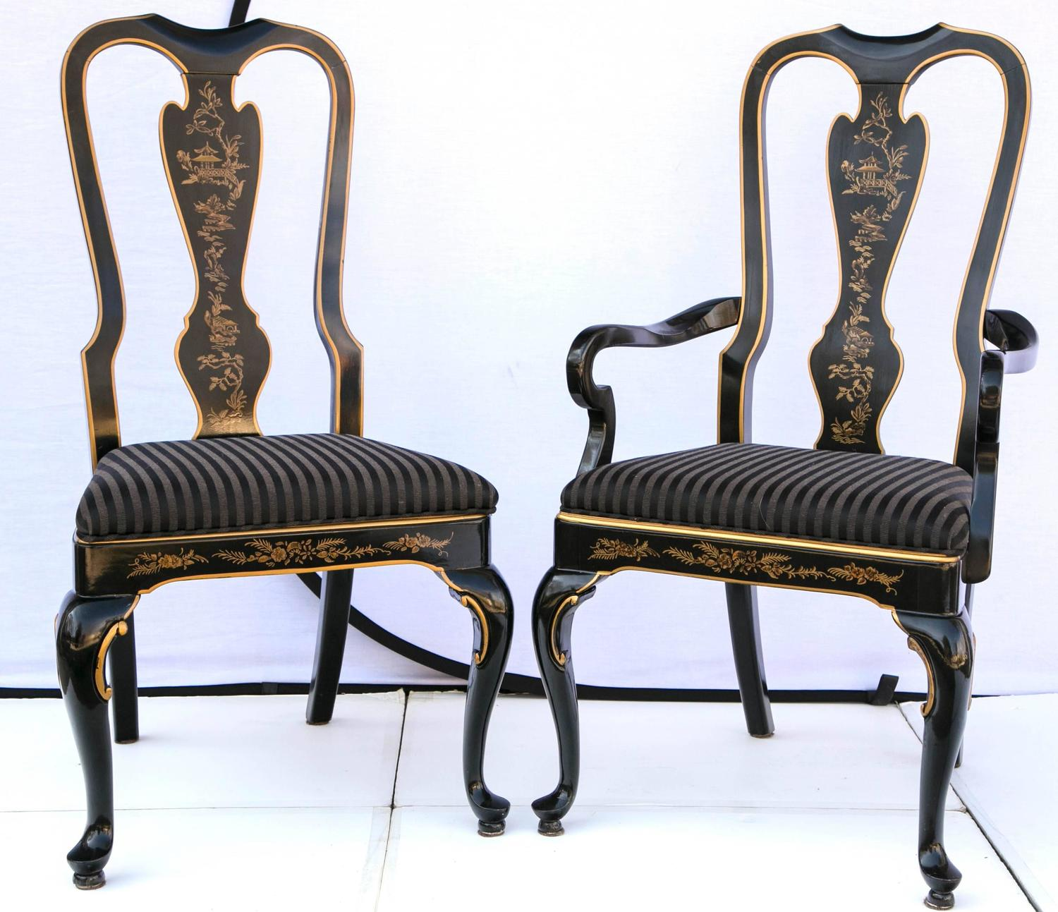 set of six drexel heritage black laquered chinoiserie dining chairs at
