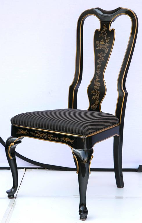 Queen Anne Set Of Six Drexel Heritage Black Laquered Chinoiserie Dining  Chairs For Sale
