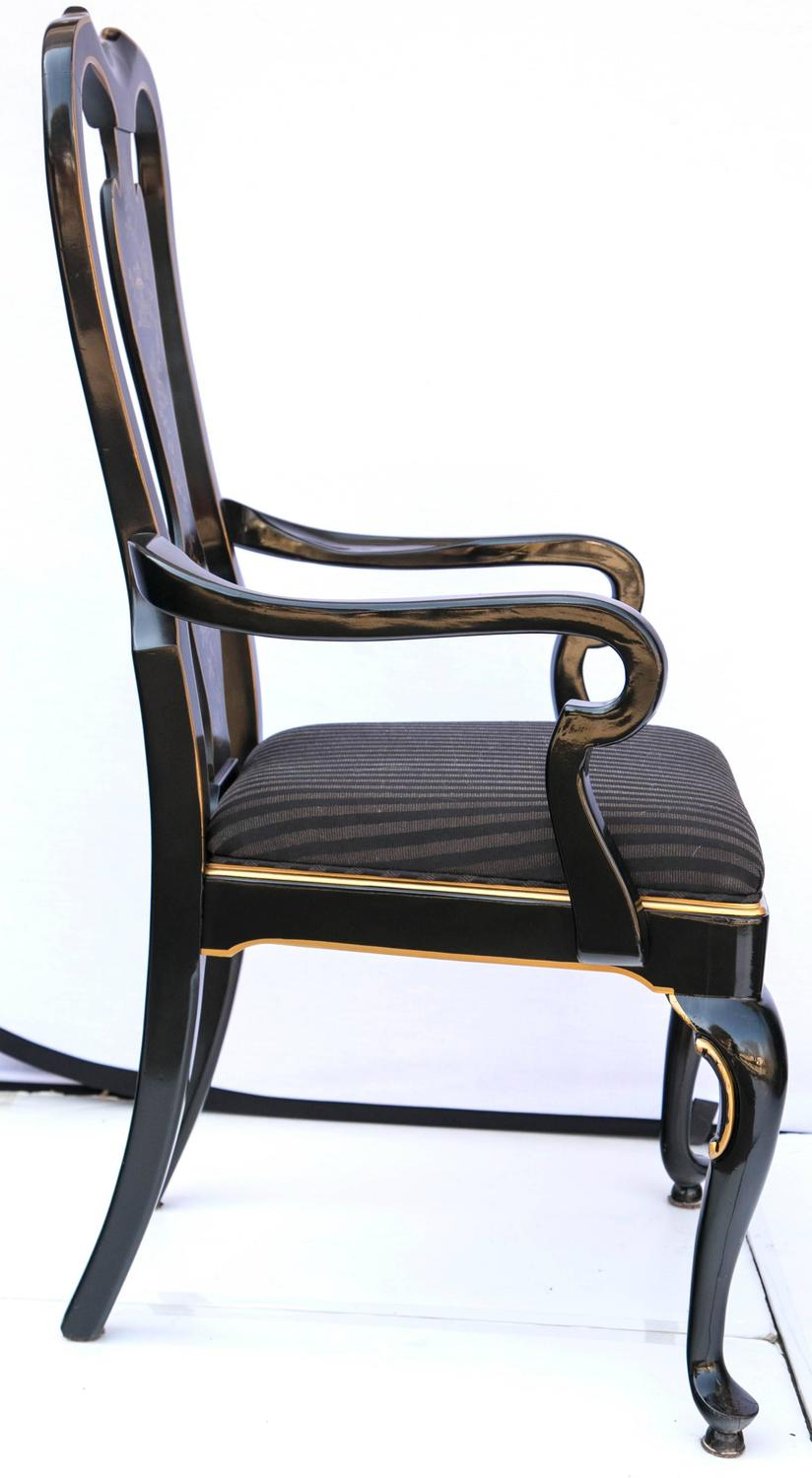 Set of six drexel heritage black laquered chinoiserie for Dining room chairs set of 6