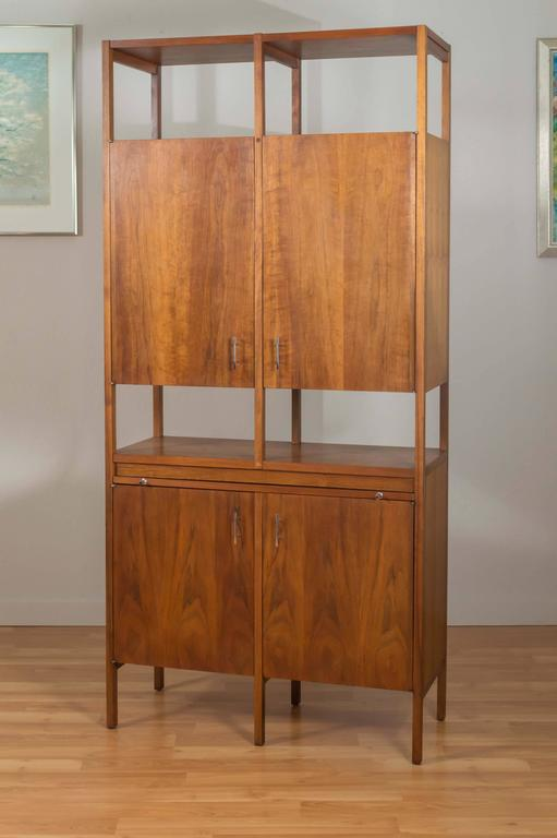 Delineator Walnut Dry Bar Or Tall Cabinet By Paul Mccobb