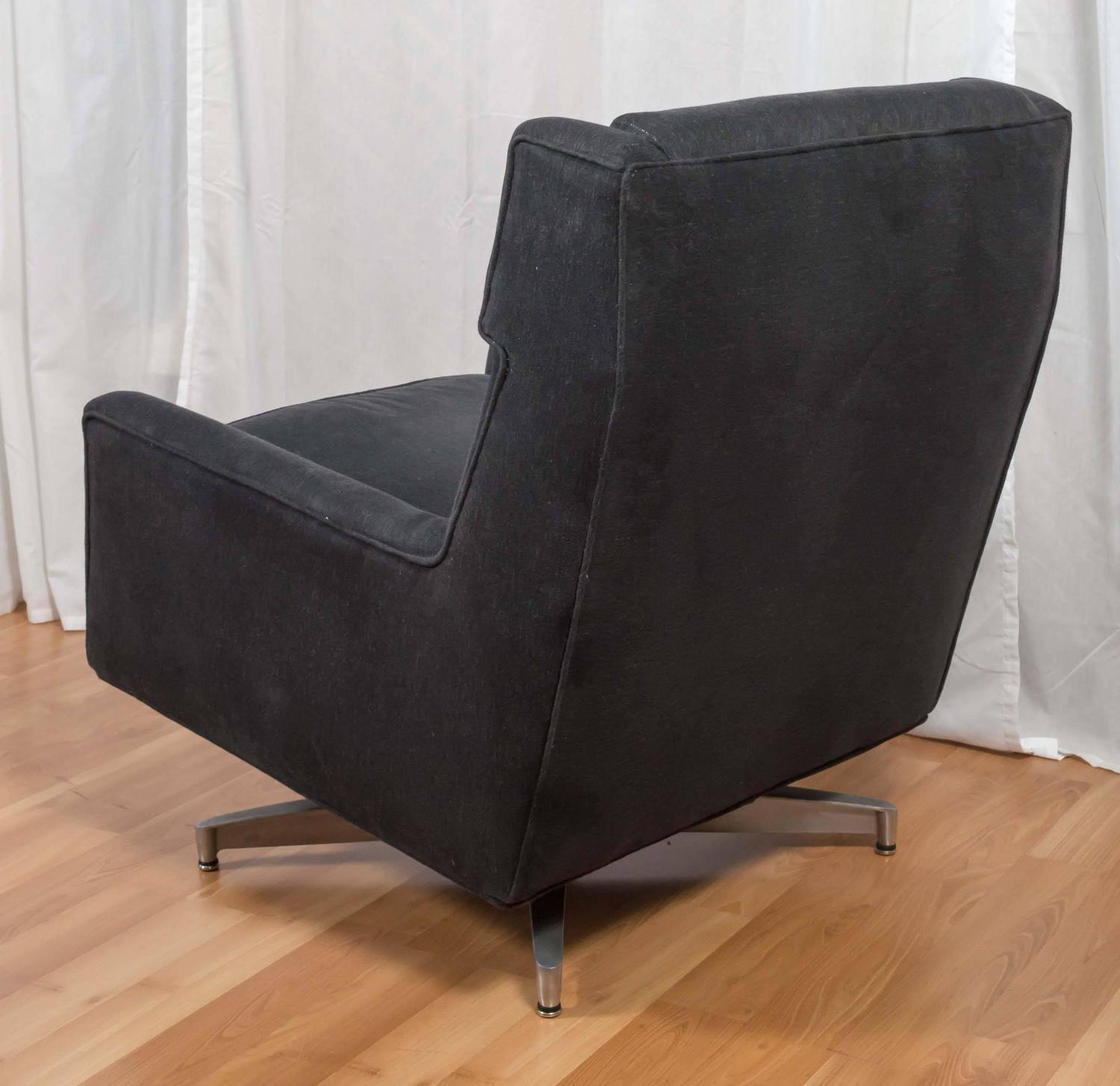 Plush mid century modern upholstered swivel lounge chair saturday