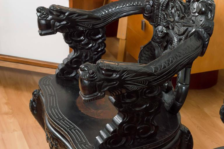 "Pair of Antique Hand Carved Chinese ""Dragon"" Chairs In Good Condition For  Sale In - Pair Of Antique Hand Carved Chinese ""Dragon"" Chairs At 1stdibs"