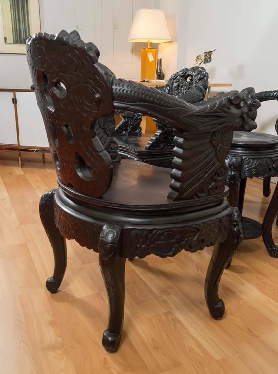 Pair Of Antique Hand Carved Chinese Dragon Chairs At 1stdibs
