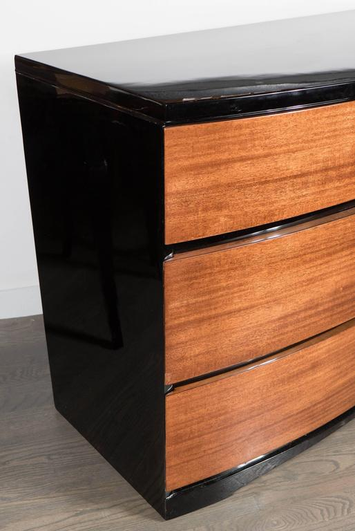Streamlined Art Deco Bow Fronted Low Chest in Mahogany and Black Lacquer For Sale 1