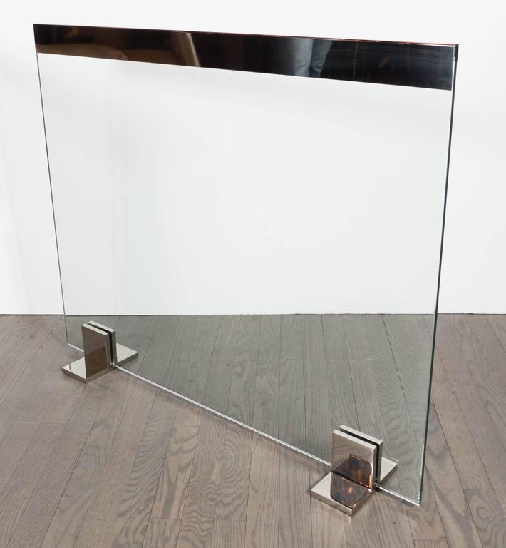 Plated Custom Modernist Tempered Glass Fire Screen with Polished Nickel Strip and Feet For Sale