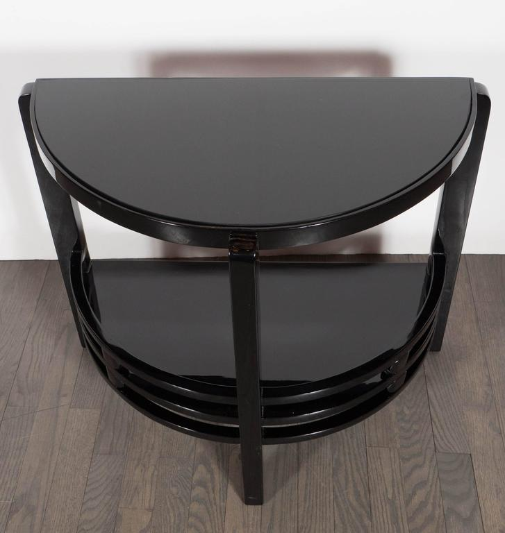 Art Deco Two-Tier Demilune End/Side Table in Black Lacquer with Vitrolite Top In Excellent Condition For Sale In New York, NY