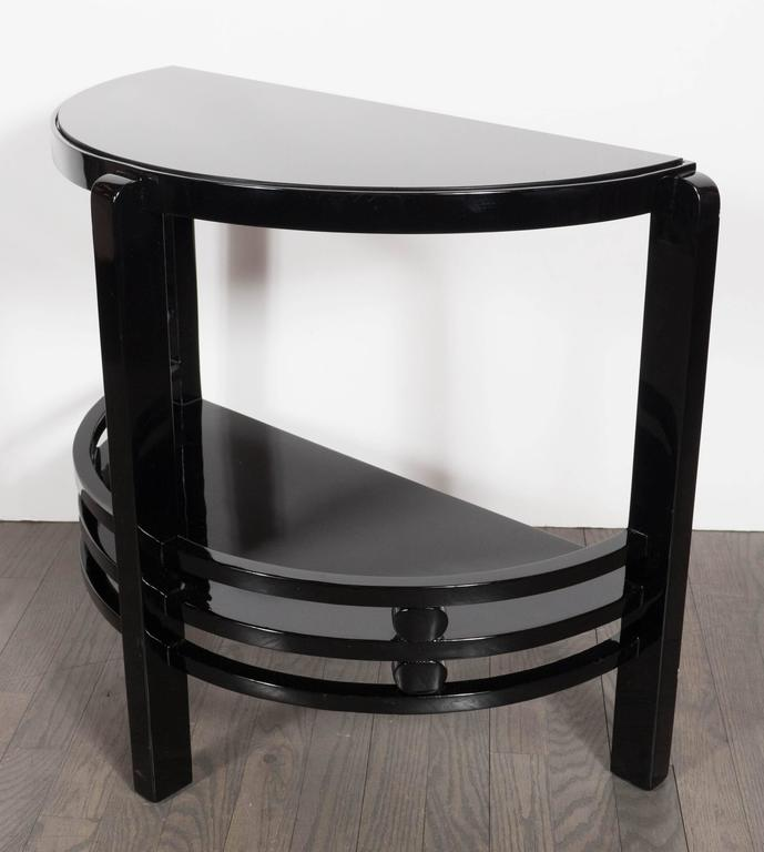 Mid-20th Century Art Deco Two-Tier Demilune End/Side Table in Black Lacquer with Vitrolite Top For Sale