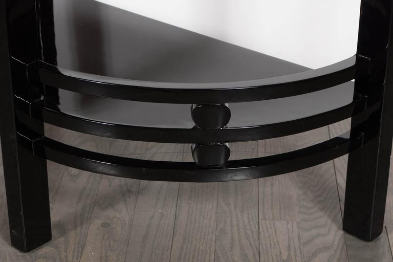 Art Deco Two-Tier Demilune End/Side Table in Black Lacquer with Vitrolite Top For Sale 1