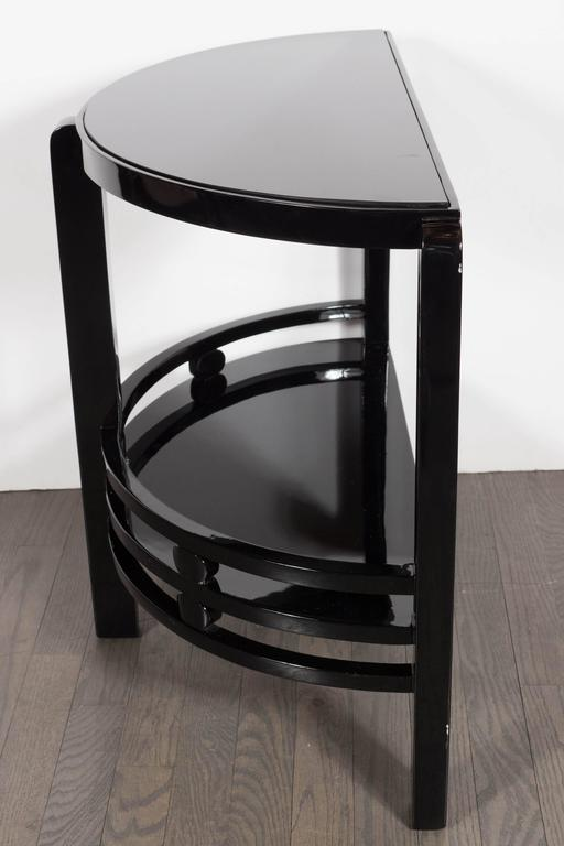 Art Deco Two-Tier Demilune End/Side Table in Black Lacquer with Vitrolite Top For Sale 2
