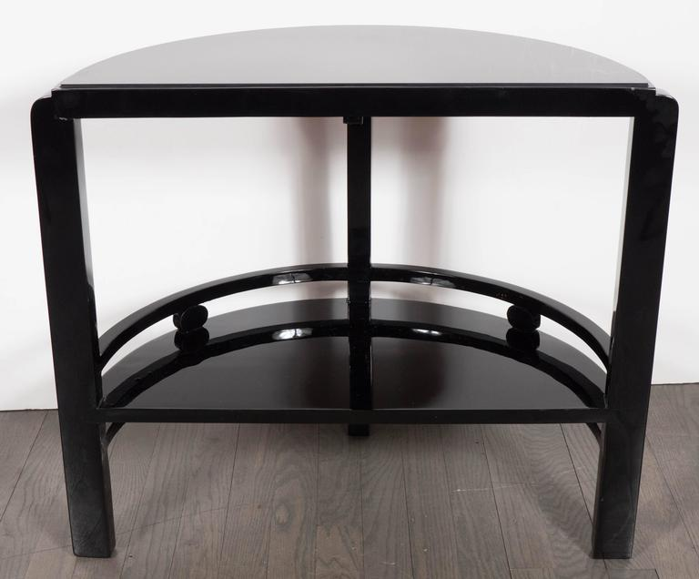 Art Deco Two-Tier Demilune End/Side Table in Black Lacquer with Vitrolite Top For Sale 3