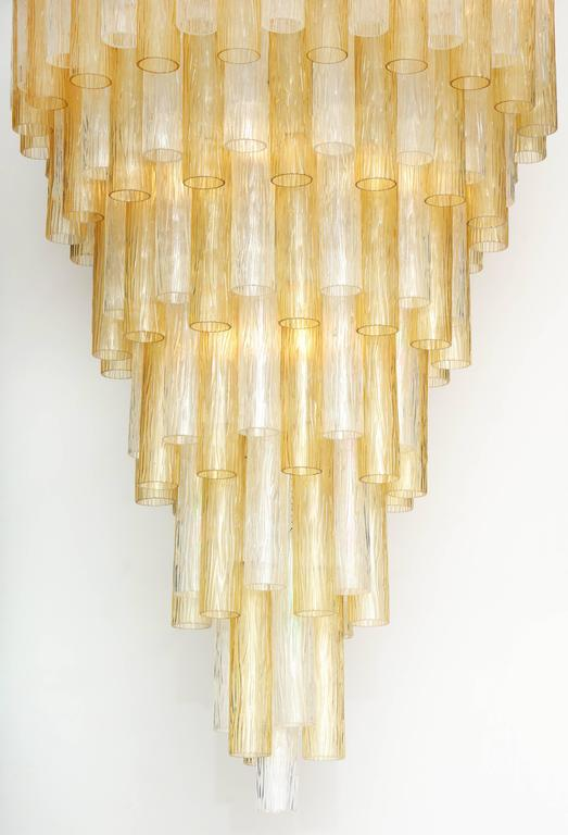Very Large Venini Style Suspended Clear and Gold Murano Glass Chandelier  2