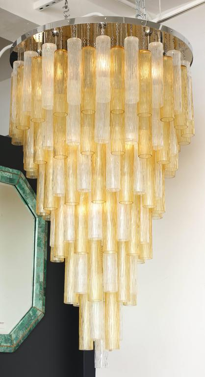 Very Large Venini Style Suspended Clear and Gold Murano Glass Chandelier  7