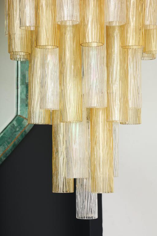 Very Large Venini Style Suspended Clear and Gold Murano Glass Chandelier  8