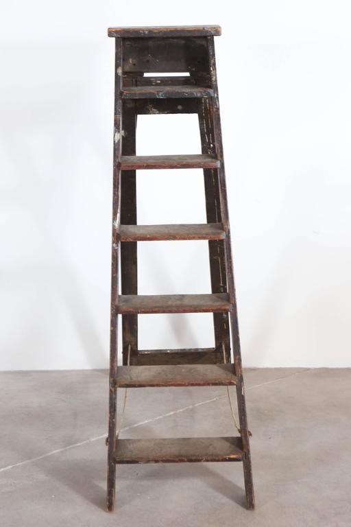 American Rustic Seven Step Wooden Ladder For Sale