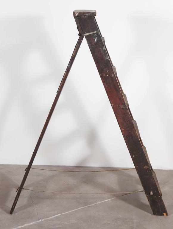 20th Century Rustic Seven Step Wooden Ladder For Sale